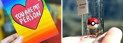 On the right, a rainbow card that says