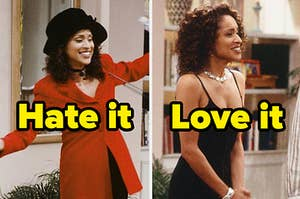 """Hilary Banks from """"Fresh Prince"""" in a preppy outfit labeled """"hate it"""" next to her in a little black dress labeled """"love it"""""""