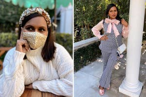 (left) Mindy poses closeup with a mask, white sweater, and a chunky headband; (right) Mindy poses full body with a checkered suit over a pink shirt with a large bow