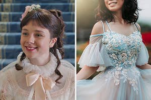"On the left, Eloise from ""Bridgerton,"" and on the Right, someone wearing an off-the-shoulder gown with tulle sleeves and floral embroidery on the bodice"