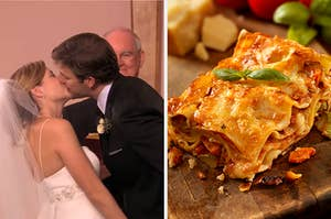 """On the left, Jim and Pam from """"The Office"""" kissing on their wedding day, and on the right, a slice of lasagna"""