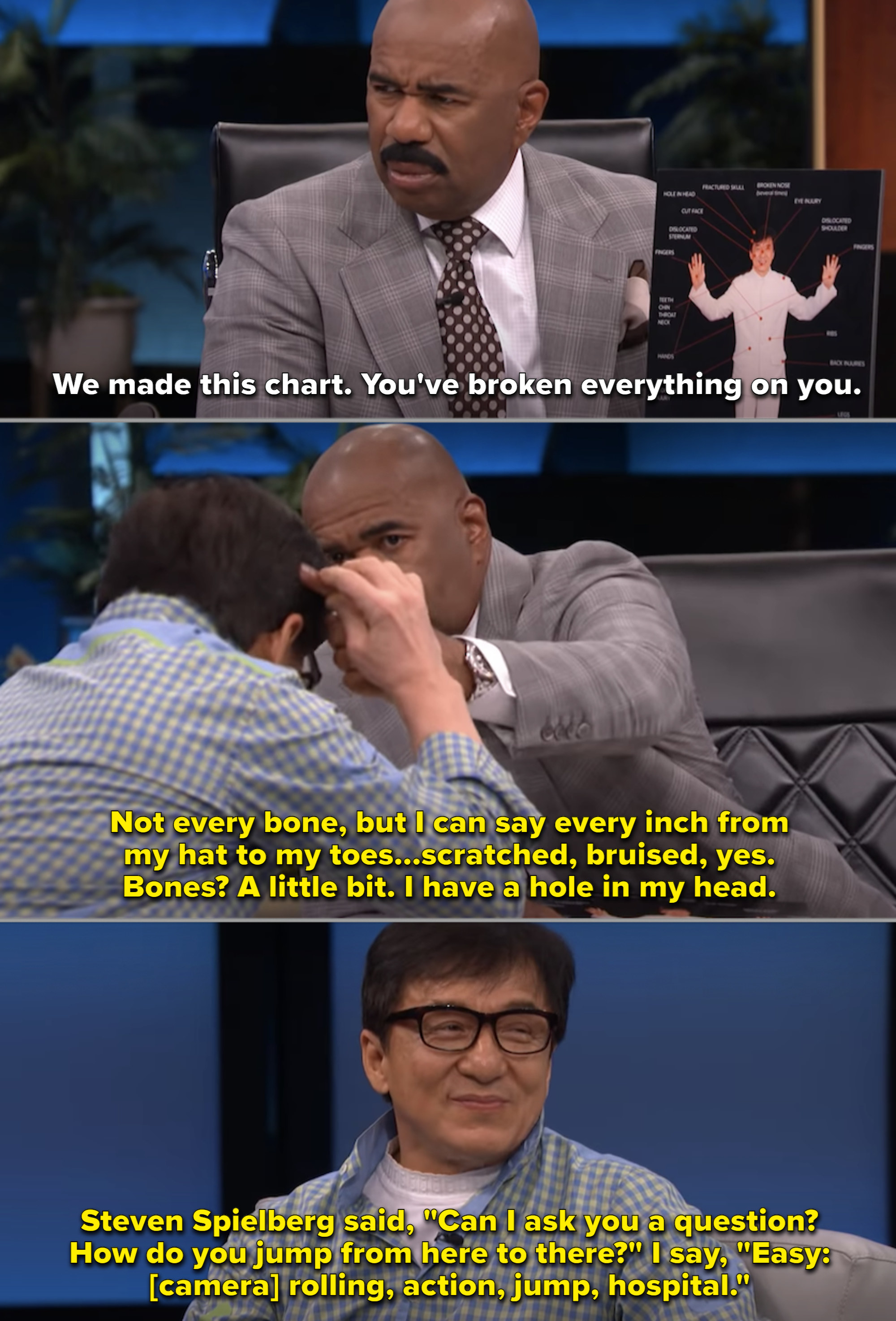 Jackie Chan talking to Steve Harvey on his talk shoow