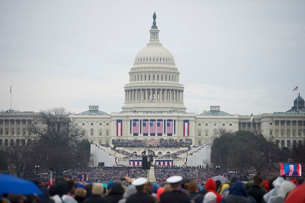 Crowds fill the Mall in front of the Capitol