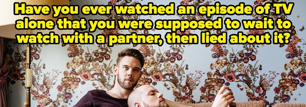 A couple laying on a couch with text reading