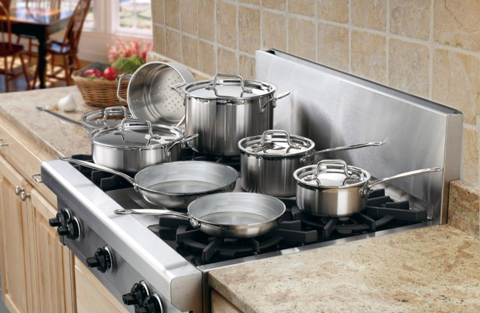 the cookware set on a stove