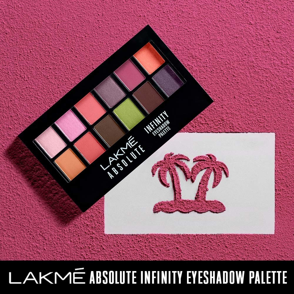 A Lakme eye shadow palette next to a pair of palm trees
