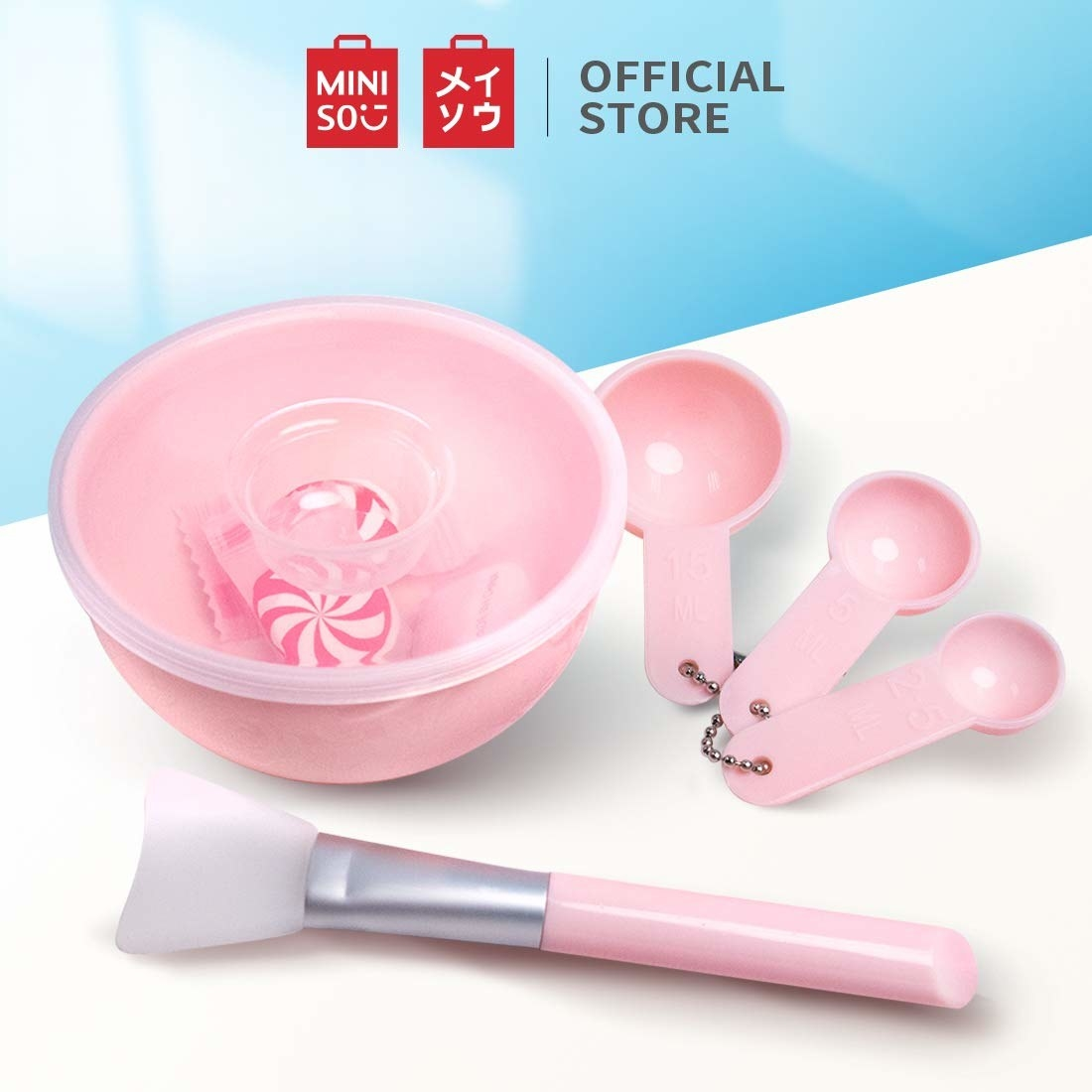 A pink facemask application set
