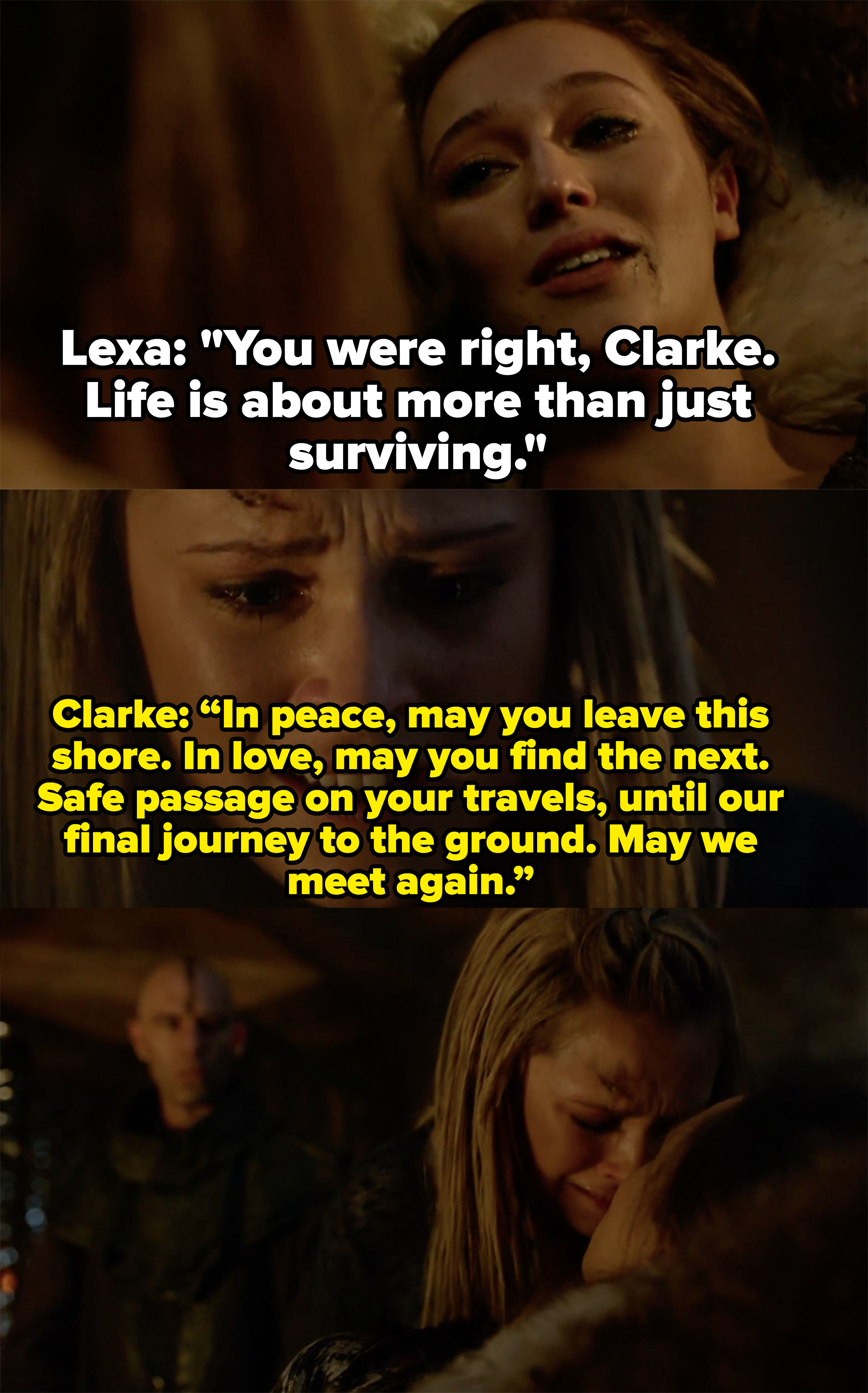 "Lexa dies in Clarke's arms, ""You were right, life is about more than just surviving,"" Clarke: ""May we meet again"""