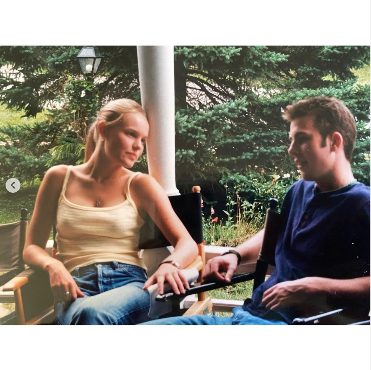 Kate and Chris on set in the throwback photo