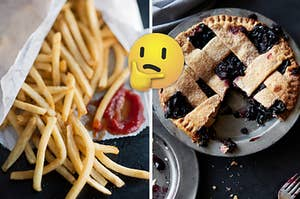 A bag of fries are spilled out on a counter with a think face emoji in the center and a blueberry pie on the right