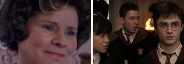 Umbridge is on the left smiling with Harry Potter and other students on the right walking down the hall