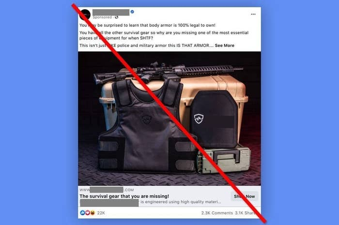 An ad for tactical gear on Facebook