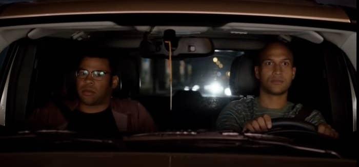 Jordan Peele and Keegan Michael-Key in a car.