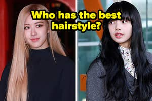 "A blackpink member is on the left with her hair pushed to the side and another with bangs labeled, ""Who has the best hairstyle?"""