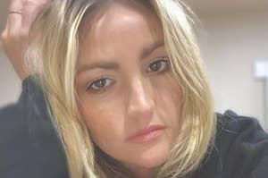 Jamie Lynn Spears frowning, wearing a sweater