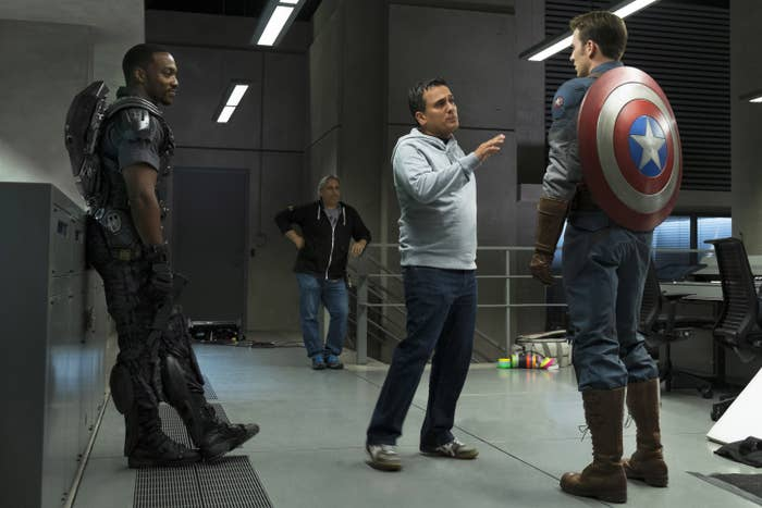 Anthony Mackie and Chris Evans on set as Falcon and Captain America