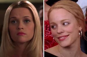 Elle Woods is on the left looking serious with Regina George on the right giving a side eye