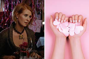 Miranda is sitting at a table with balloons on the air with a woman holding pink hearts on the right