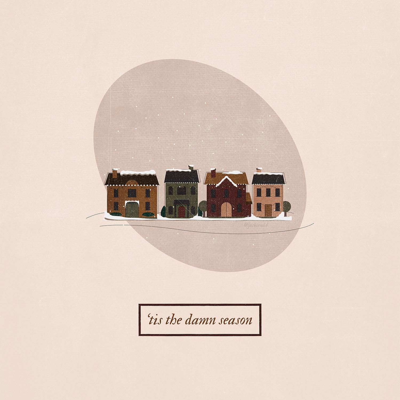 A row of quaint, snow-covered houses