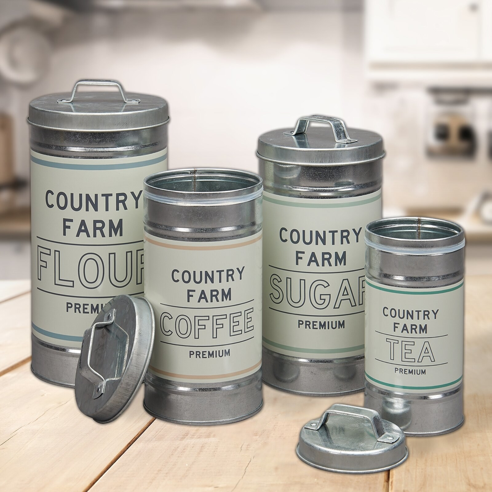 The four-piece set of canisters