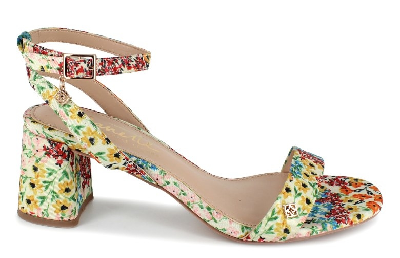 The floral-printed sandals