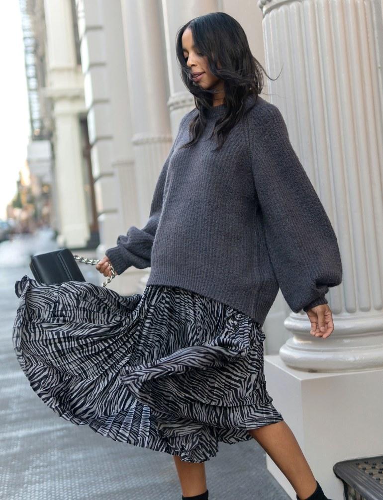 The zebra-print skirt