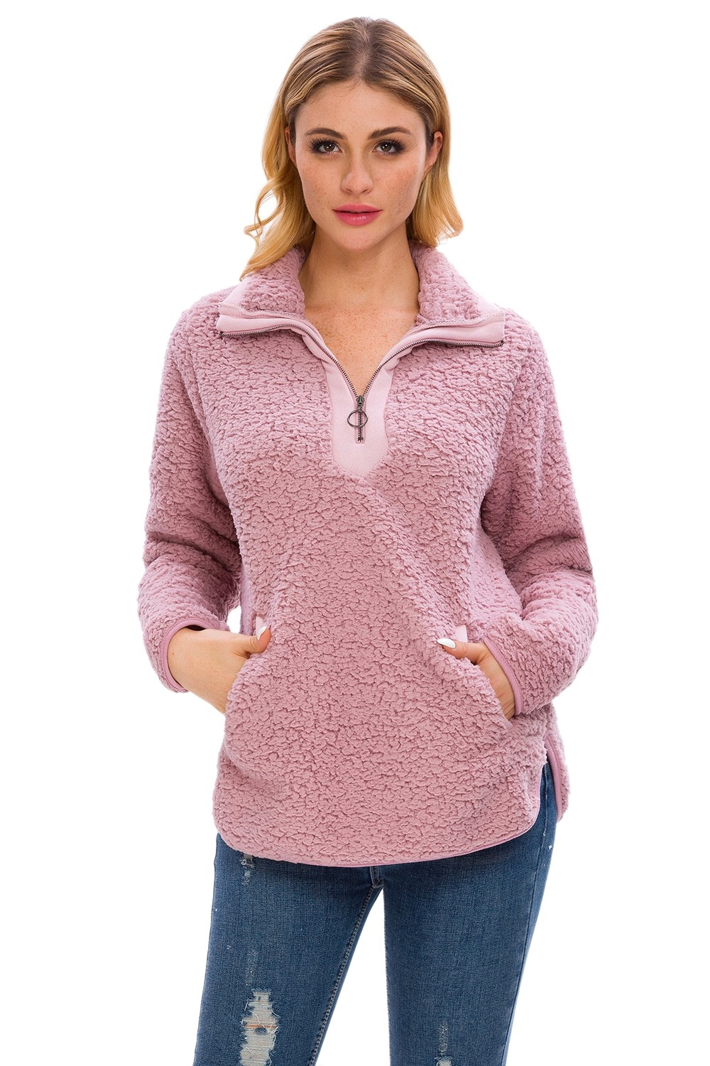 the pink sherpa pulloever