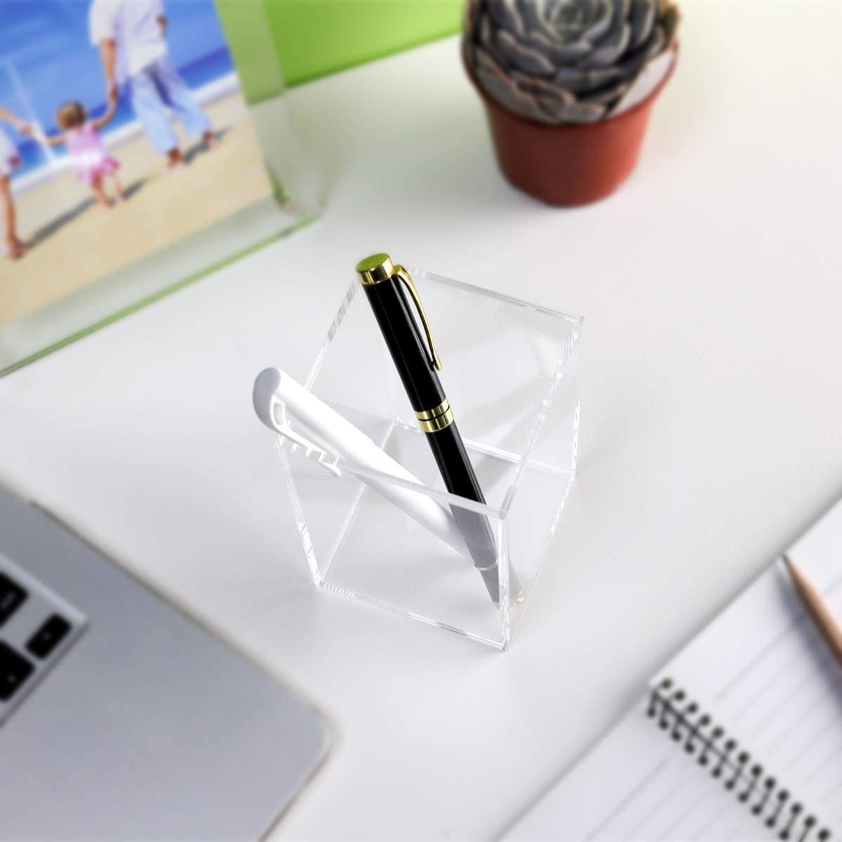 acrylic container on desk