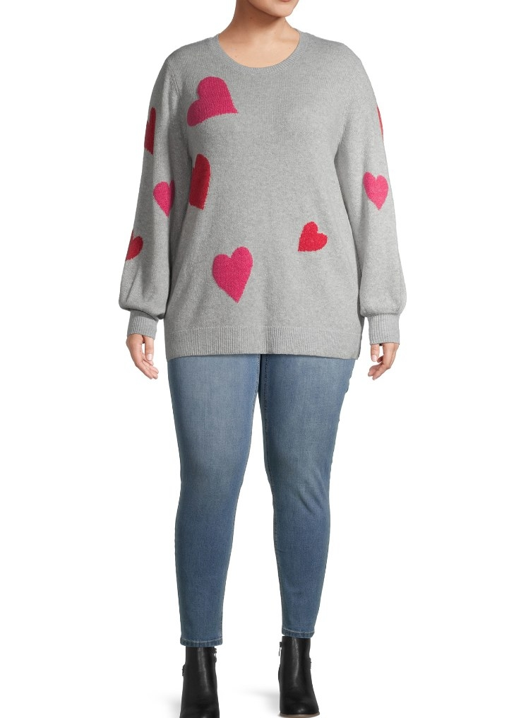 The heart-printed sweater