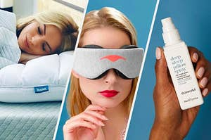 A person sleeping on a pillow, a person wearing an eye mask, and a person holding up a pillow spray