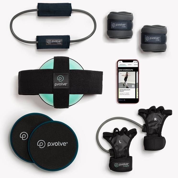 Workout equipment starter kit with phone streaming on-demand class