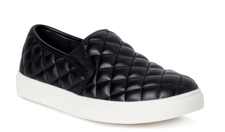 The slip-on black and white sneakers