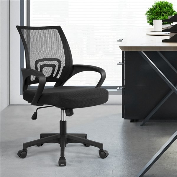 black office chair in an office building