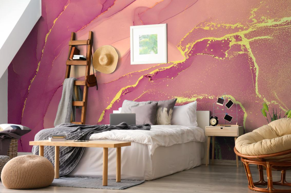 A bedroom wall decorated with the marble-like wallpaper
