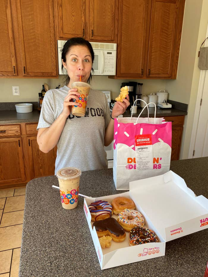 The author with a Dunkin Donuts home delivery in the early days of quarantine.