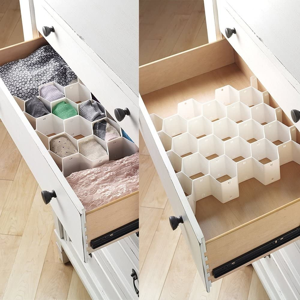 the dividers in a drawer filled with socks