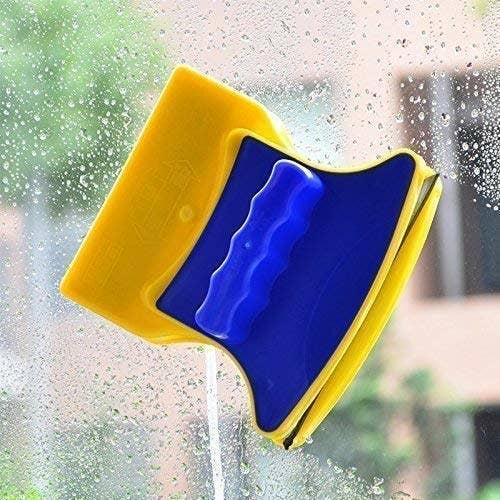 Magnetic sponge window cleaner.