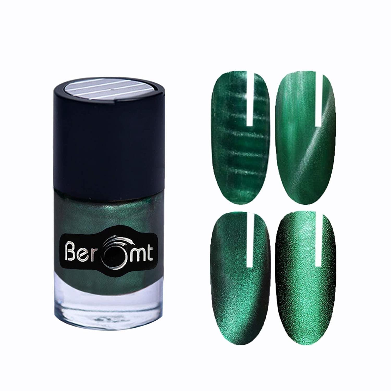 Green cat-eyed nail polish