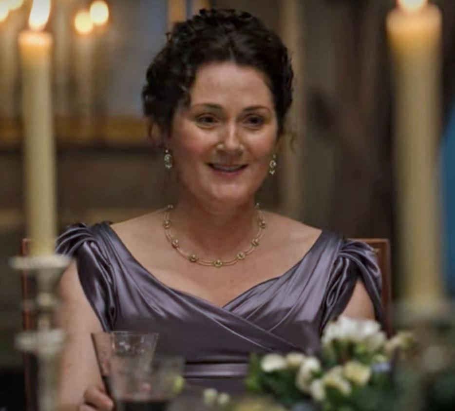 Lady Bridgerton wears a purple satin gown