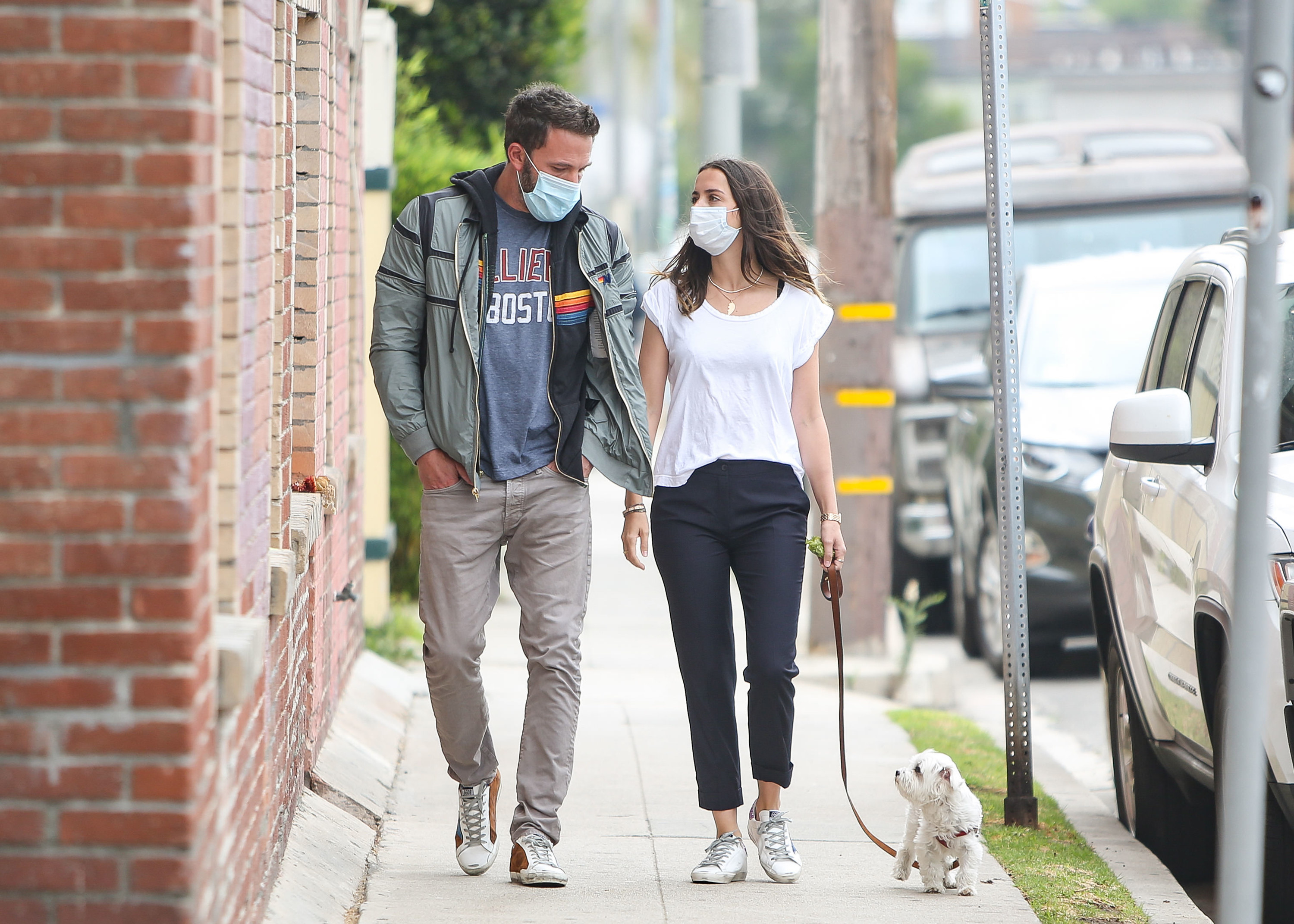 Ben Affleck and Ana de Armas taking a walk with their dog