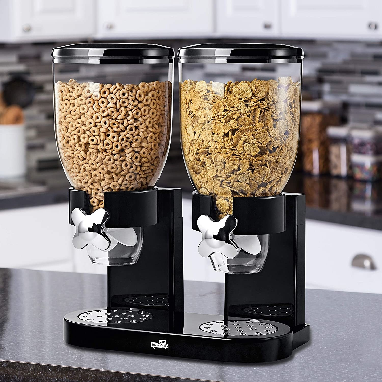 the cereal dispenser with two kinds of cereal in it