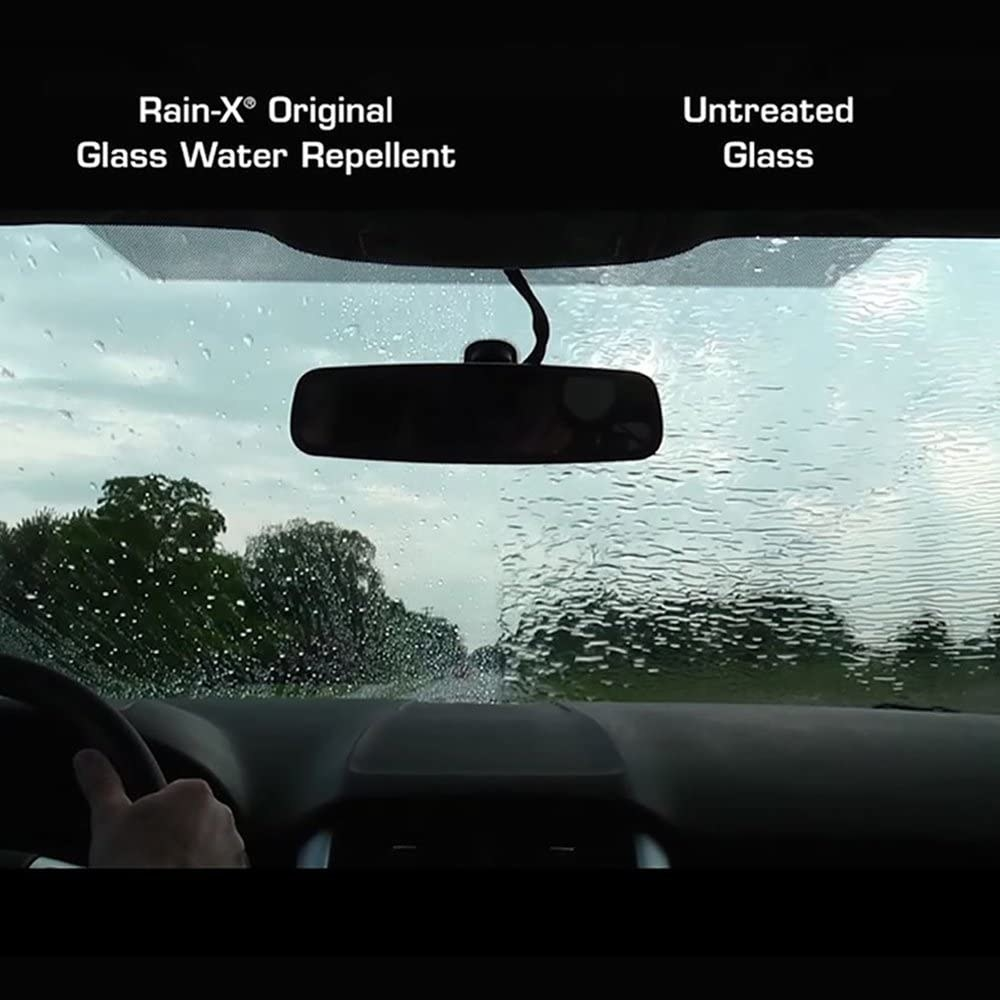 two sides of a windshield showing rain that using the treatment makes the water slide down more