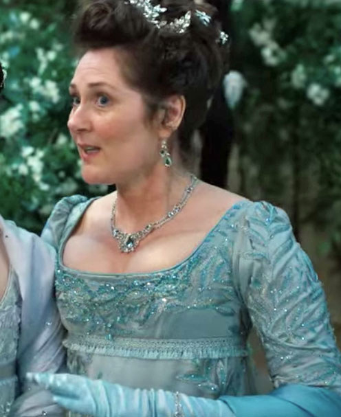 Lady Bridgerton wears a sequined, embroidered ball gown