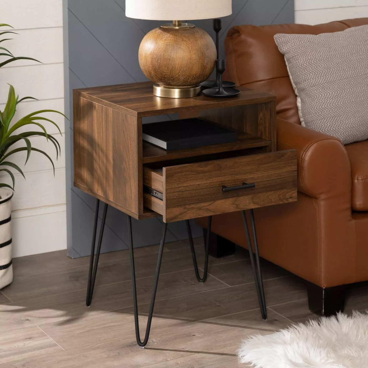 The side table in dark walnut