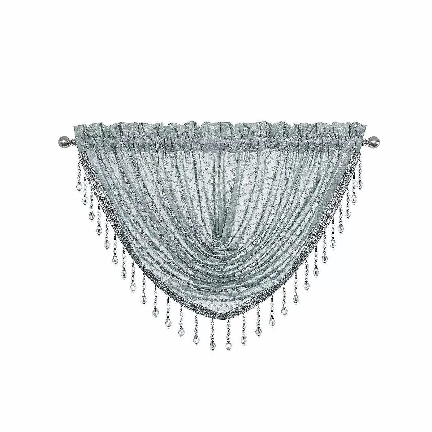 The chevron-patterned, beaded valance in seaside blue