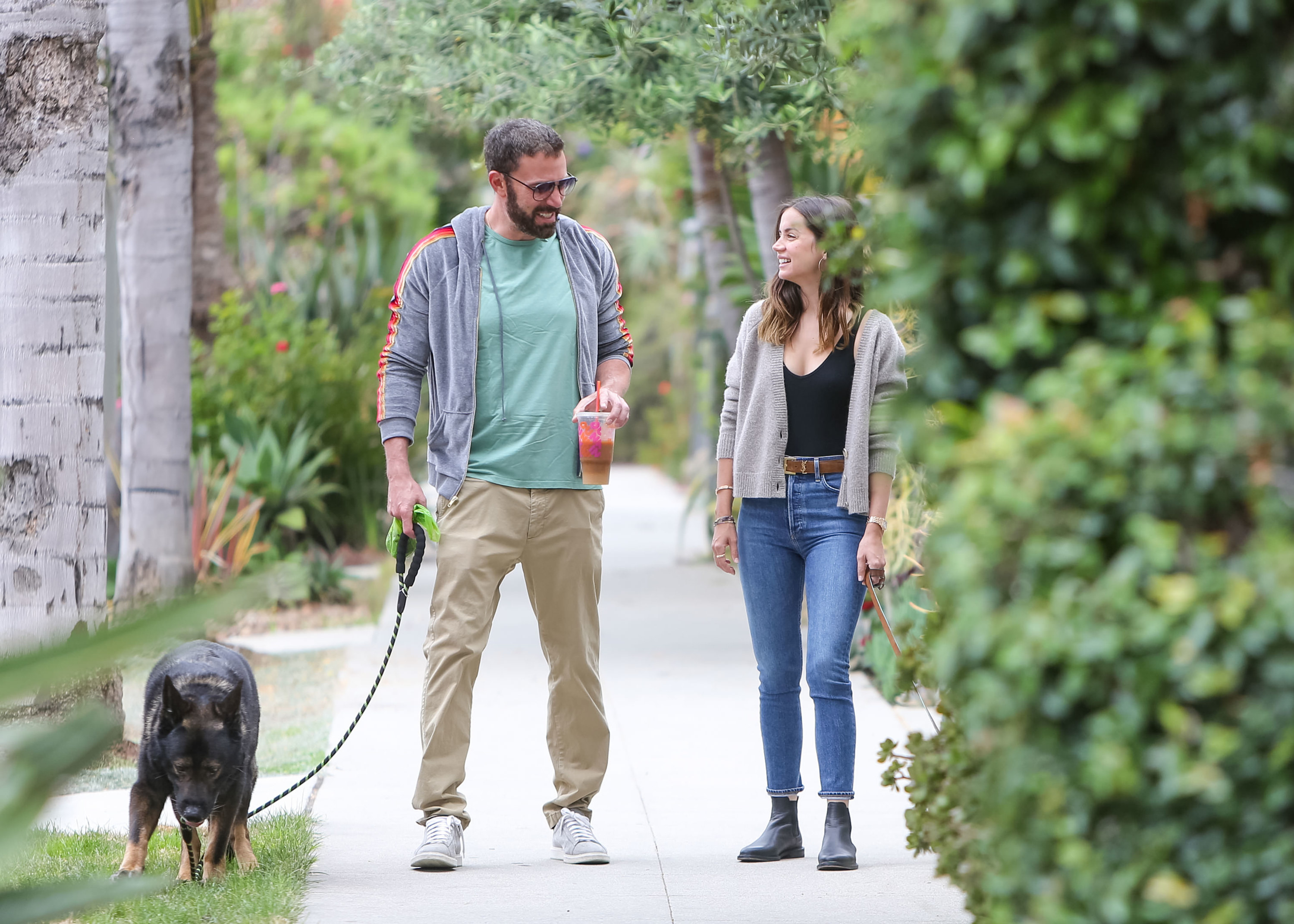 Ben Affleck and Ana de Armas are seen walking another of their dogs