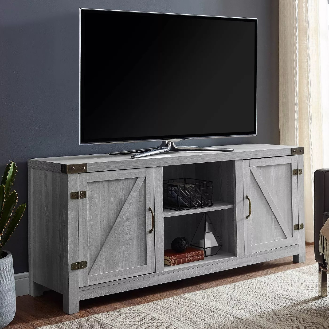 The farmhouse TV stand in gray
