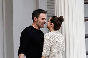 Ben Affleck and Ana de Armas kiss during a break in filming on the set of their new psychological erotic thriller on November 19, 2020 in New Orleans, Louisiana
