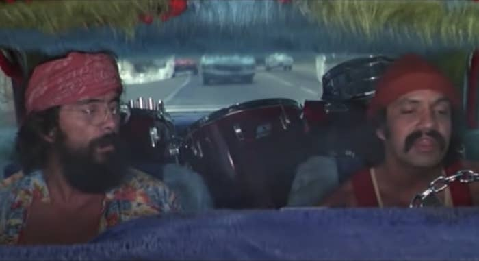 Tommy Chong and Cheech Marin in their car in Up in Smoke