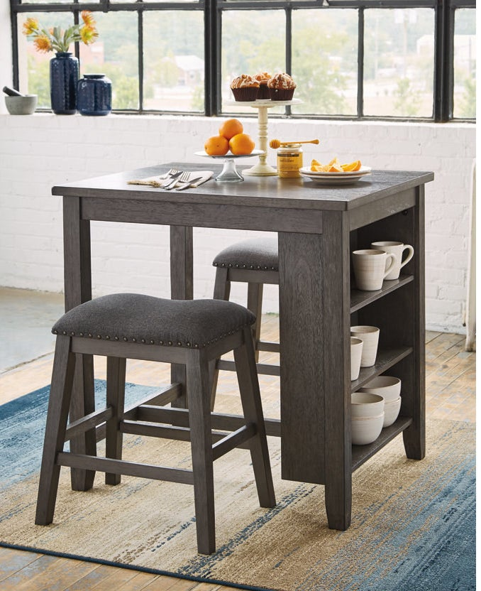 wooden counter and barstool set